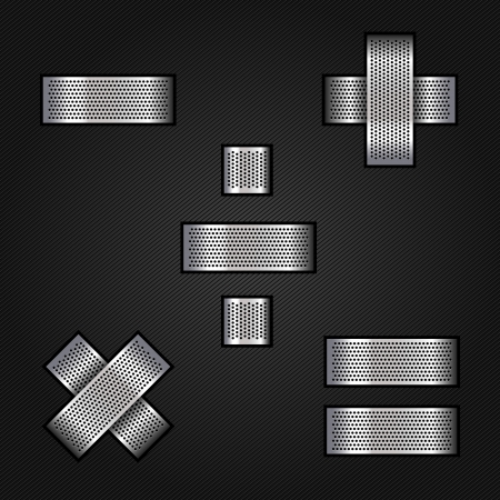Letter metal chrome ribbon - Mathematical signs Vector