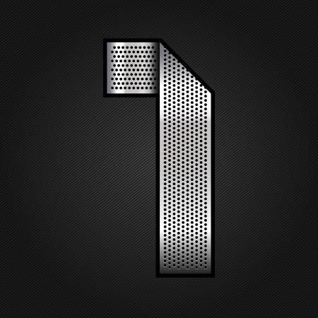 numero uno: N�mero de la cinta de metal cromado - 1 - una