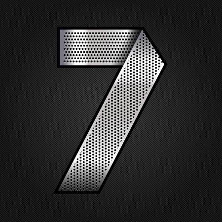 num�rico: N�mero de metal cromado de la cinta - 7 - siete