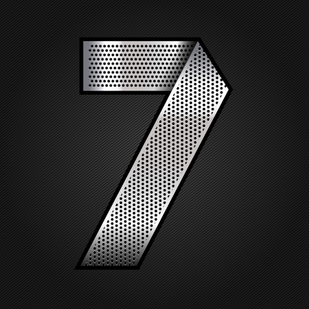 punched metal surface: Number metal chrome ribbon - 7 - seven Illustration