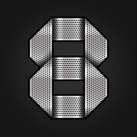 Number metal chrome ribbon - 8 - eight Vector