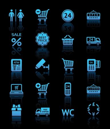 cassa supermercato: Impostare pittogrammi servizi supermercato, shopping icone blu Vettoriali