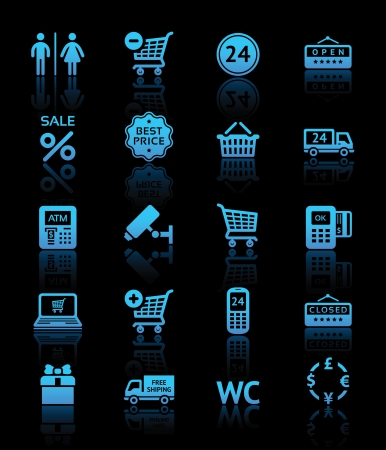 cashpoint: Set pictograms supermarket services, Shopping blue icons