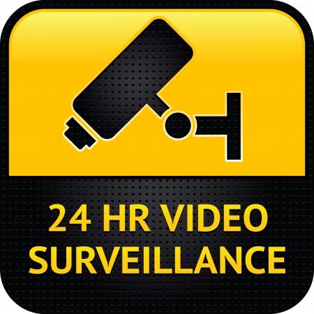 Symbole vidéo surveillance, surface métallique perforée