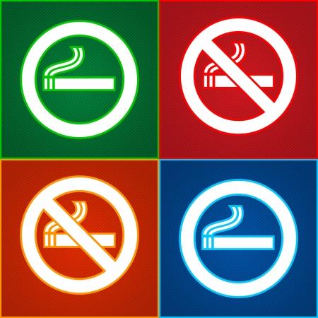prohibido fumar: Pegatinas conjunto - No hay etiquetas de Zona de fumadores Vectores