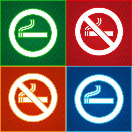 Stickers set - No smoking area labels Vector