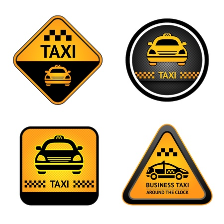 Taxi cab set stickers Stock Vector - 14038007