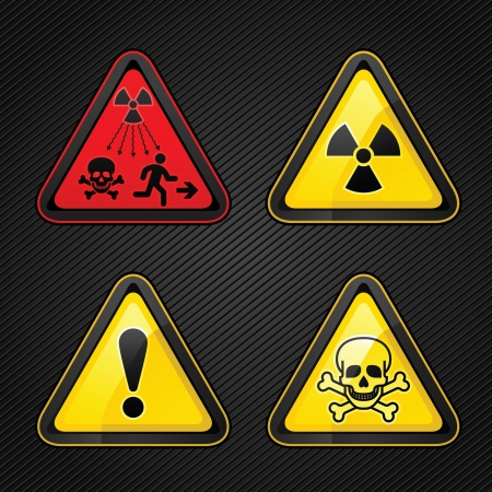 caution chemistry: Hazard warning set attention symbols