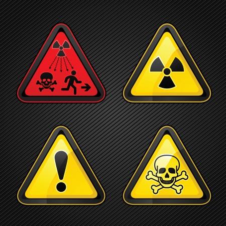 sustancias toxicas: Símbolos de advertencia de peligro establecidos atención