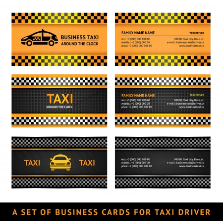 taxi cab: Business card taxi - second set Illustration