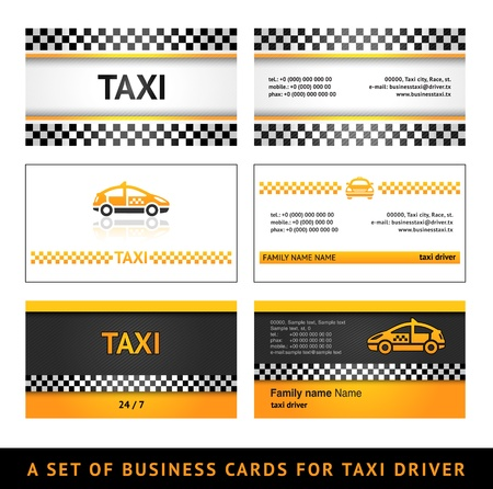 Business card taxi - first set Vector