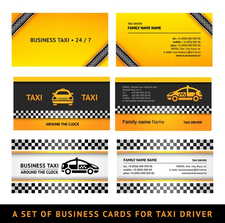 chequered ribbon: Business card taxi - third set card taxi templates Illustration
