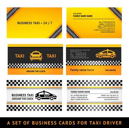 Business card taxi - third set card taxi templates Illustration