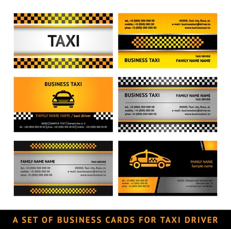 chequered ribbon: Business card taxi - fourth set