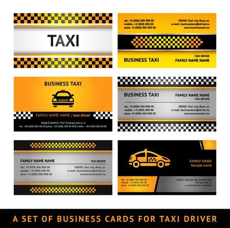 servicios publicos: Tarjeta de negocio de los taxis - cuarto set Vectores