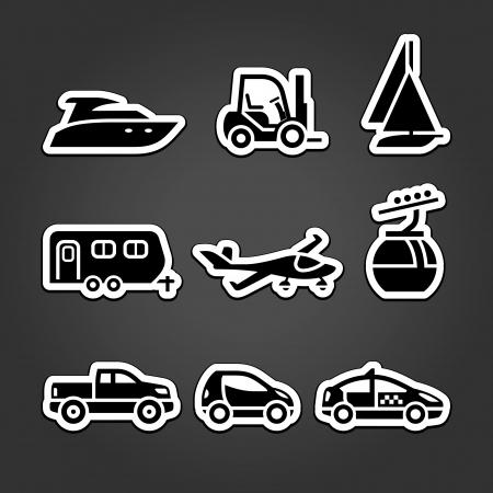 Stellen Sie Etiketten Transport Symbole