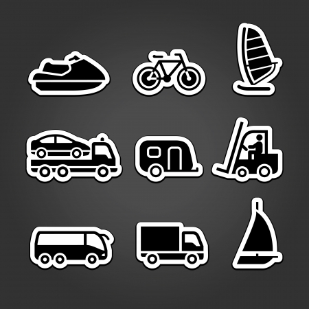 Transportation stickers set icons Vector
