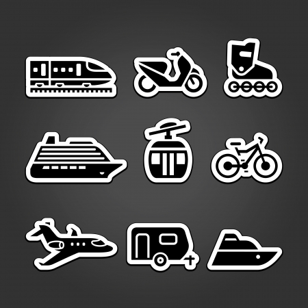 Set simple transportation icons Vector