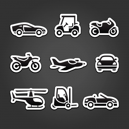Set stickers transport icons Stock Vector - 14473971