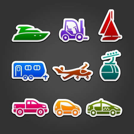 Set labels color transport icons Stock Vector - 14789527