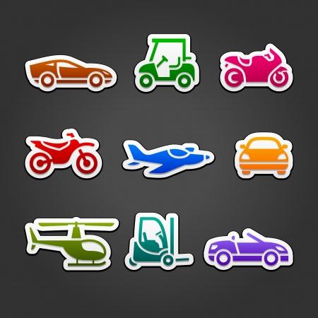 car loader: Set stickers transport color icons Illustration