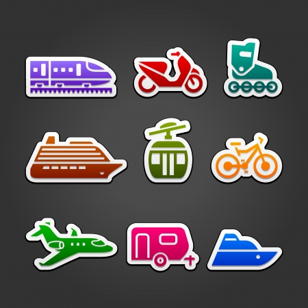 Set simple transportation color icons Vector