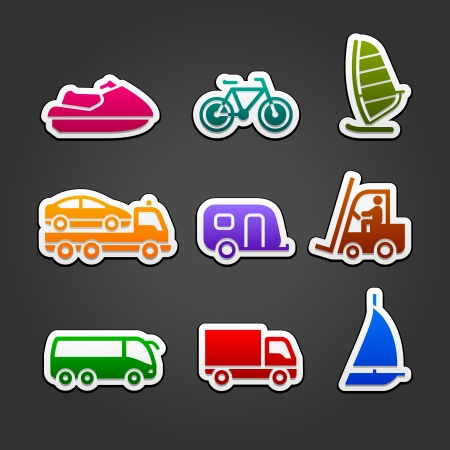 tow truck: Set simple stickers color transport