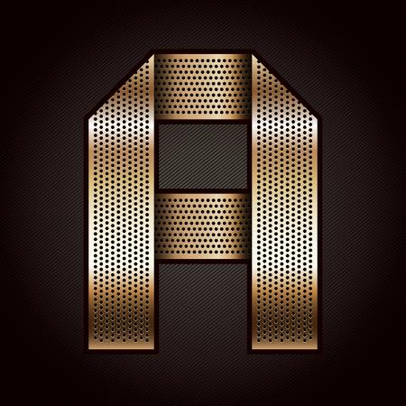 letras cromadas: Carta de metal oro cinta - A