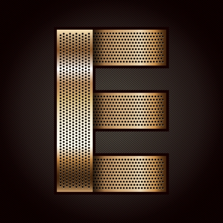 punched metal surface: Letter metal gold ribbon - E