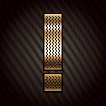 punched metal surface: Letter metal gold ribbon - Exclamation mark Illustration