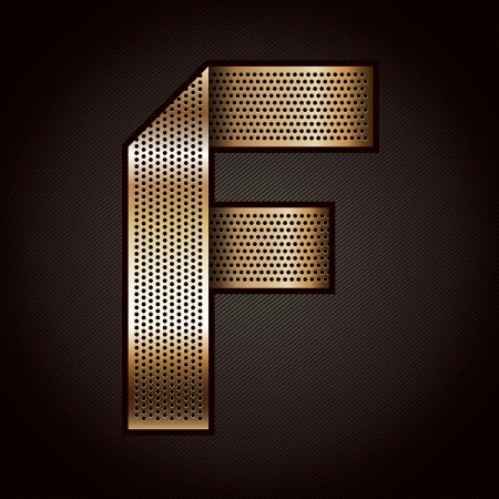 letras cromadas: Carta de metal de oro cinta - F