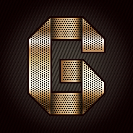 Letter metal gold ribbon - G Vector