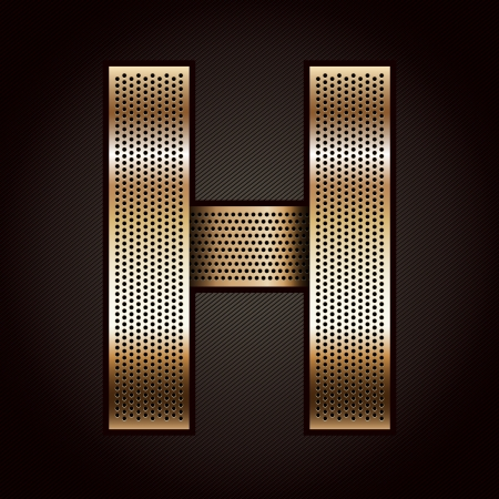 Letter metal gold ribbon - H Stock Vector - 15034815