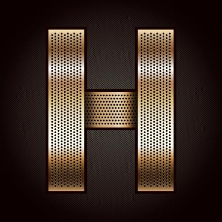 Letter metal gold ribbon - H Stock Vector - 15034815