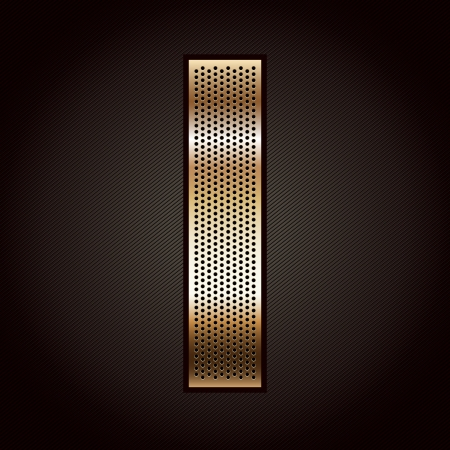 punched metal surface: Letter metal gold ribbon - I