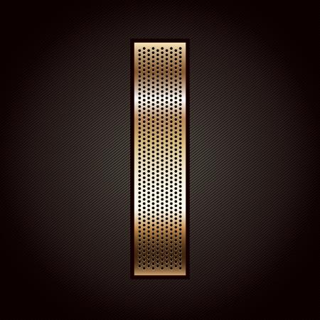 folded metallic tape: Letter metal gold ribbon - I