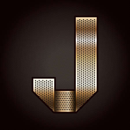 Letter metal gold ribbon - J Vector