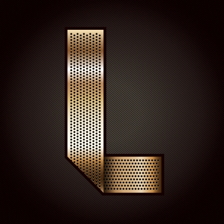 punched: Letter metal gold ribbon - L