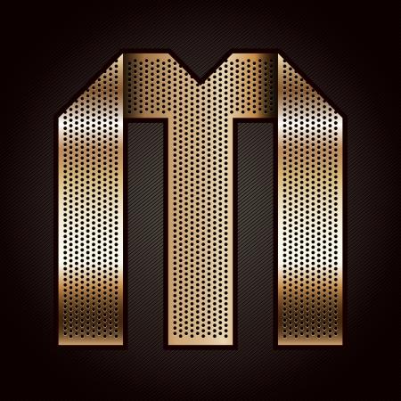 letras cromadas: Carta de metal de oro cinta - M