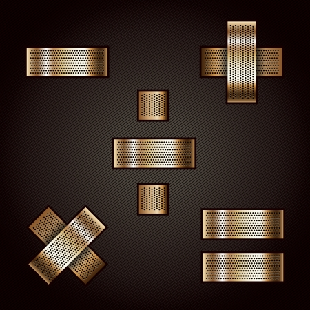 punched metal surface: Letter metal gold ribbon - Mathematical signs