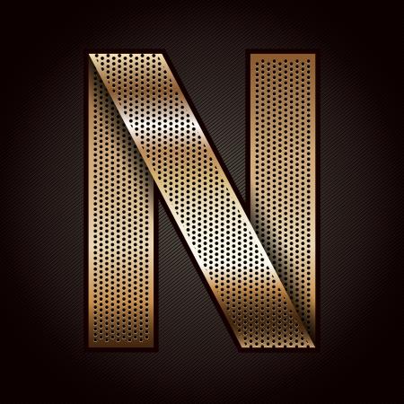 metal grate: Letter metal gold ribbon - N
