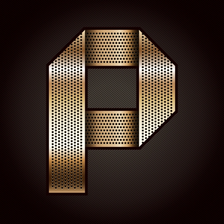 Letter metal gold ribbon - P Vector