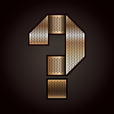 punched metal surface: Letter metal gold ribbon - Question mark Illustration