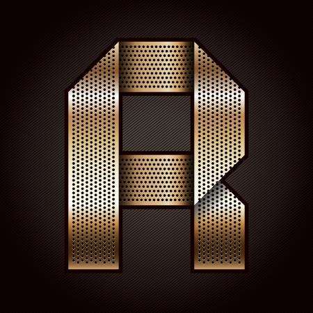 letras cromadas: Carta de metal de oro cinta - R Vectores