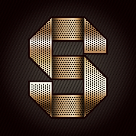 Letter metal gold ribbon - S Vector