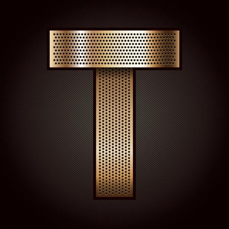 bronze: Letter metal gold ribbon - T Illustration