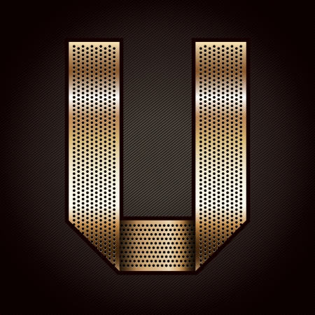 Letter metal gold ribbon - U Vector
