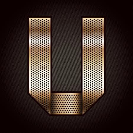 metal grate: Letter metal gold ribbon - U Illustration