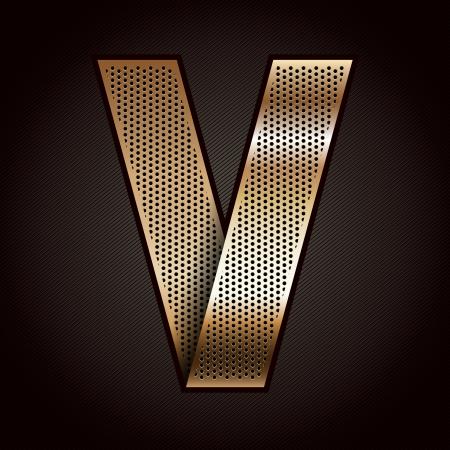 metallic tape: Letter metal gold ribbon - V Illustration