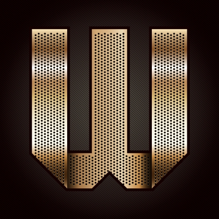 Letter metal gold ribbon - W Vector